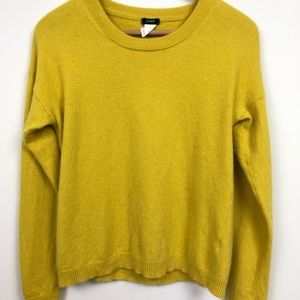 J. CREW Yellow Cashmere Wool Blend Sweater Large